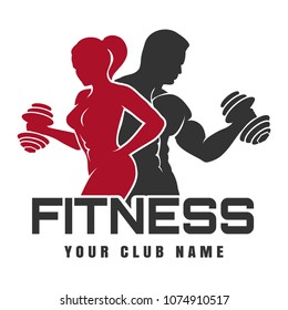 Fitness Club emblem or logo design. Training man and woman silhouettes with dumbbell. Vector illustration.