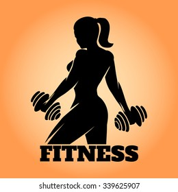 Fitness club and gym banner or poster design. Silhouette of athletic woman with dumbbells. Free font used.