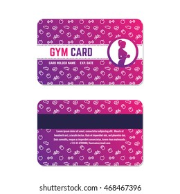fitness club, gym card design, violet on white