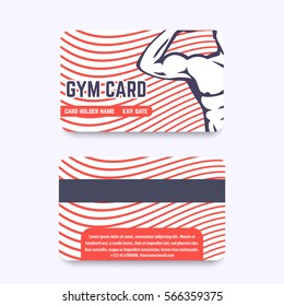 fitness club, gym card design with strong athlete flexing biceps