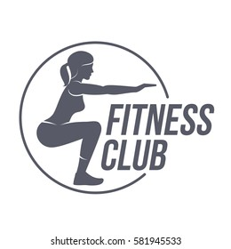 Fitness club logo. Fitness, Aerobic, workout exercise in gym. Sport badges and labels. Vector illustration isolated on white background.