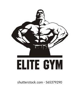 fitness club logo design, bodybuilder, vector image