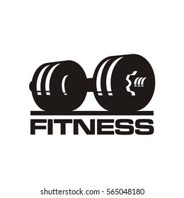 fitness club logo, dumbbels, vector illustration