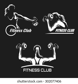 Fitness Club logo or emblem set. Training muscled woman. Woman holds dumbbells in various positions. Only free font used. White silhouettes isolated on black background.