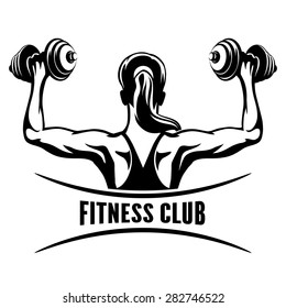 Fitness Club logo or emblem with training muscled woman. Woman holds dumbbells. Only free font used. Isolated on white background.