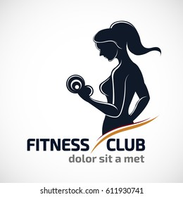 Fitness club logo or emblem with woman silhouettes. Woman holds dumbbells. Isolated on white background.