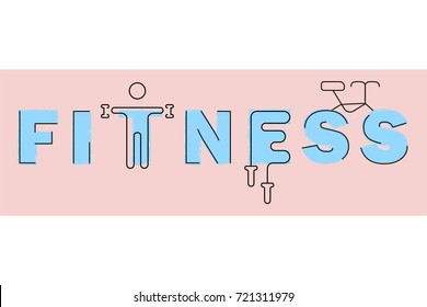 Fitness club logo. Modern thin line icons set of gym equipment, sports recreation activity. Simple symbol collection. Vector logotype concept for web graphics.