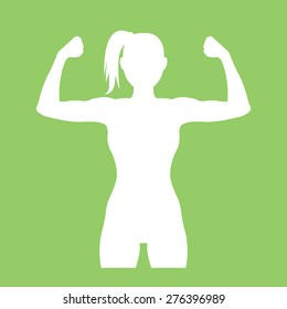 Fitness club logo with woman silhouette. White fitness logo design template. Woman shows her muscles. Vector illustration. Isolated on green background