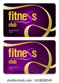 Fitness club membership cards set