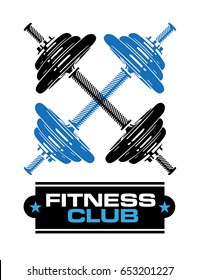 Fitness Club sign with dumbbells. .eps10