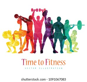 Fitness concept illustration of young people doing workout with equipment. Sport, gym concept. Vector illustration