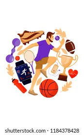Fitness concept with running sportsman and sports equipment. Sport and healthy lifestyle concept. Vector flat illustration for print, postcard, advertise, invitation, poster, book, t-shirt.