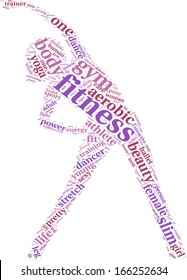 fitness concept tag cloud vector illustration