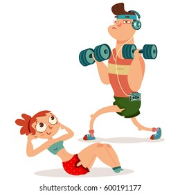Fitness couple man and woman doing exercise with dumbbells. Workout girl and guy vector cartoon illustration isolated on a white background. Healthy lifestyle.