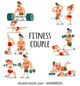 Fitness couple man and woman doing exercise. Workout girl and guy vector cartoon illustration isolated on a white background. Healthy lifestyle set.