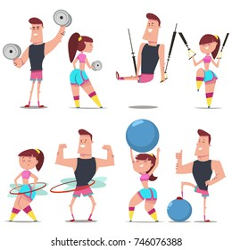 Fitness couple man and woman doing exercise with dumbbells, fit ball, hula hoop and suspension training. Workout girl and guy vector cartoon character isolated on background. Healthy lifestyle set.