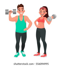 Fitness couple. Man and woman dressed in sports clothes for the gym, doing exercises with dumbbells. The concept of a healthy lifestyle. Vector illustration in cartoon style