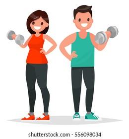 Fitness couple. Man and woman dressed in sportswear are doing exercises with dumbbells. Vector illustration in a flat style