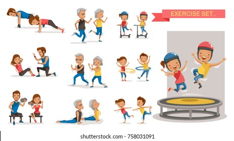 Fitness couple set. Different gesture activities. Children, adults, older. Vector illustrations isolated on white background.