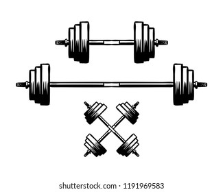 Fitness with Crossed Barbel for Gym Sport Hand Drawn Symbol Logo Vector