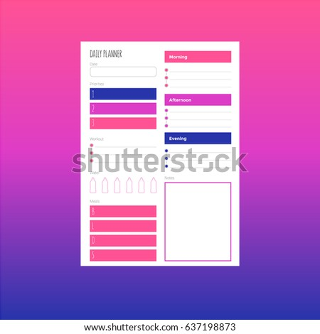 fitness daily planner stock vector royalty free 637198873