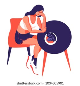 Fitness and diet concept. Sad woman sitting at the table with a plate of broccoli. Vector illustration
