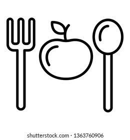 Fitness diet icon. Outline fitness diet vector icon for web design isolated on white background