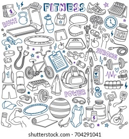Fitness doodles set. Sport equipment, exercise machines and training accessories.