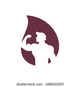 Fitness drop shape concept club, gym vector logo template. Fitness or Gym club emblem with posing athletic man.