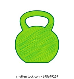 Fitness Dumbbell sign. Vector. Lemon scribble icon on white background. Isolated
