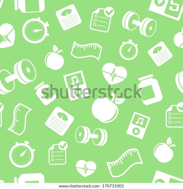Fitness elements seamless pattern vector illustration