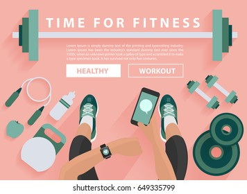 Fitness equipment flat concept, With woman hand with wearing watchband smartwatch and holding mobile phone, Vector illustration design