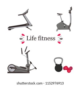 Fitness equipment with an inscription  life fittness on a white background