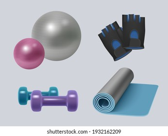 Fitness equipment. Realistic gym accessories energy sport symbols for healthy lifestyle dumbbells scales apple skipping rope decent vector illustrations set