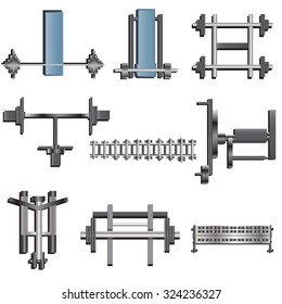 Fitness equipment top view set 1 for interior ,vector illustration