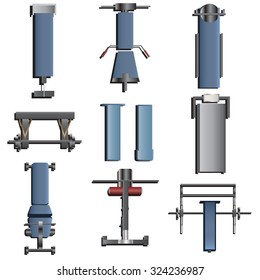 fitness equipment top view set 2 for interior , vector illustration