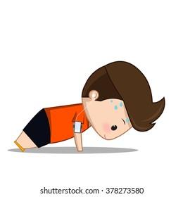 Fitness exercise  cartoon man vector
