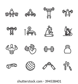 Fitness and exercise icon set. Vector illustration.