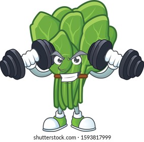 Fitness exercise spinach mascot icon with barbells