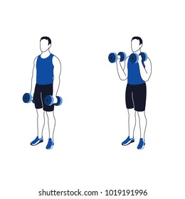 Fitness exercises for strong and beautiful hands. Fitness, Aerobic and workout exercise in gym. Vector set of gym icons in line style isolated on white background. People in gym. Gym equipment.