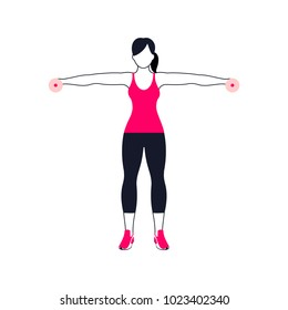 Fitness exercises for strong and beautiful shoulder. Fitness, Aerobic and workout exercise in gym. Vector set of gym icons in line style isolated on white background. People in gym. Gym equipment.
