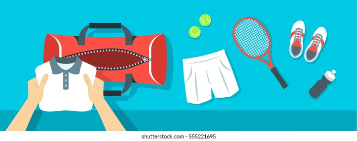 Fitness flat vector background. Man puts tennis stuff for training into sport bag. Top view horizontal banner. Polo shirt, shorts, sneakers, tennis racket and balls. Healthy lifestyle concept.