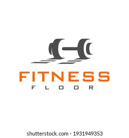 Fitness Floor Logo Dumbbell and Shadow Symbol