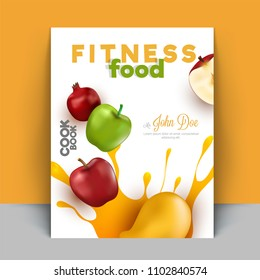 Fitness Food, cook book or recipe book for nutritious food, fruits and healthy lifestyle, Book cover design.