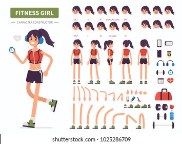 Fitness  girl character constructor for animation. Front, side and back view. Flat  cartoon style vector illustration isolated on white background.