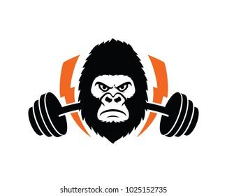 Fitness Gorilla Logo Template Design Vector, Emblem, Design Concept, Creative Symbol, Icon
