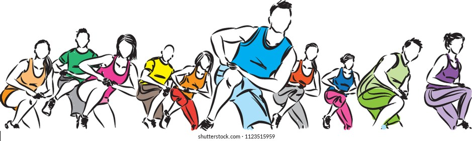 fitness group exercising vector illustration