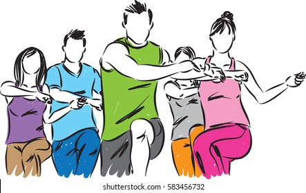 FITNESS GROUP VECTOR ILLUSTRATION