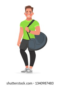 Fitness guy with a sports bag on a white background. Trainer or gym visitor. Vector illustration in cartoon style