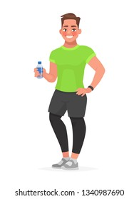 Fitness guy in sportswear holding a bottle of water in his hand. The man in the gym. Vector illustration in cartoon style